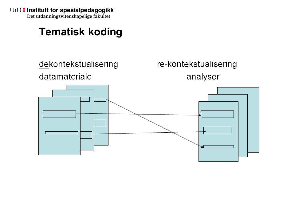 Tematisk koding dekontekstualisering re-kontekstualisering datamateriale analyser