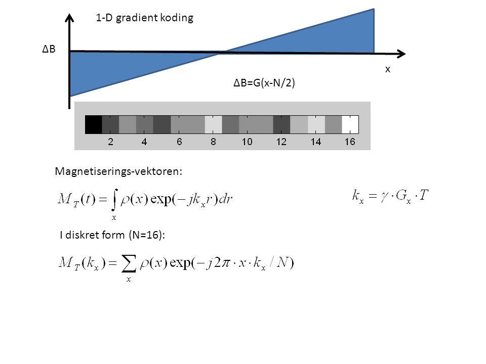 1-D gradient koding ∆B x ∆B=G(x-N/2) Magnetiserings-vektoren: I diskret form (N=16):