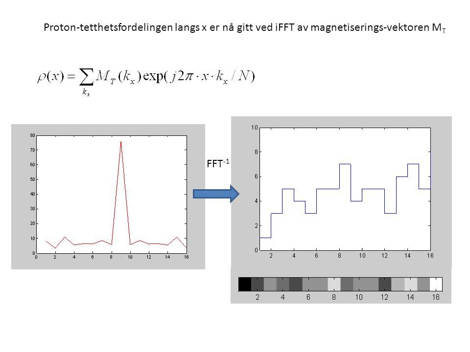 Proton-tetthetsfordelingen langs x er nå gitt ved iFFT av magnetiserings-vektoren MT