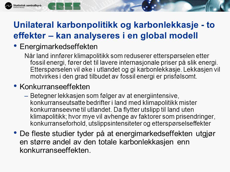 Unilateral karbonpolitikk og karbonlekkasje - to effekter – kan analyseres i en global modell