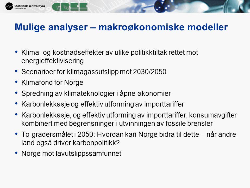 Mulige analyser – makroøkonomiske modeller