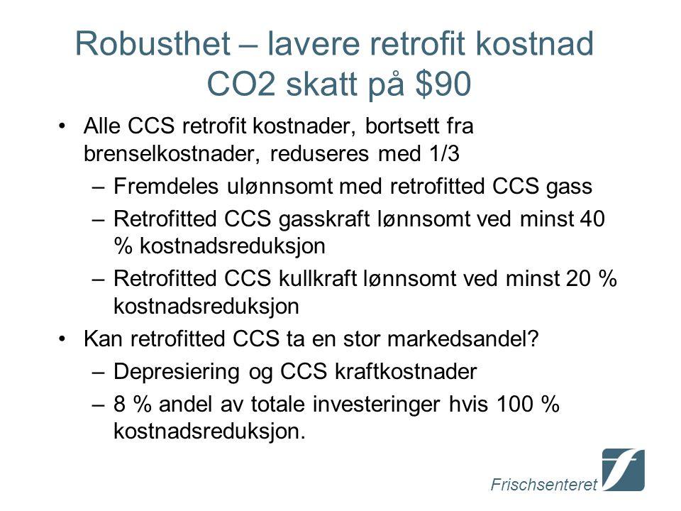 Robusthet – lavere retrofit kostnad CO2 skatt på $90