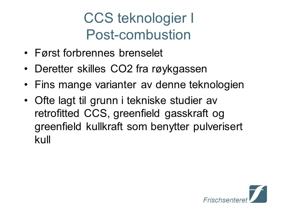 CCS teknologier I Post-combustion