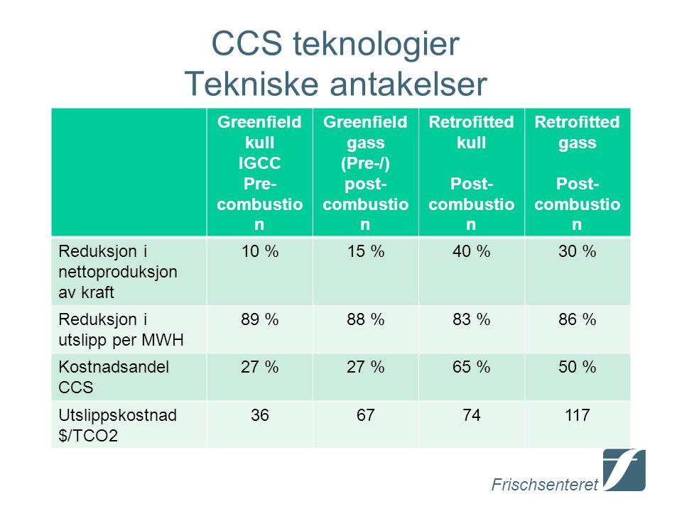 CCS teknologier Tekniske antakelser