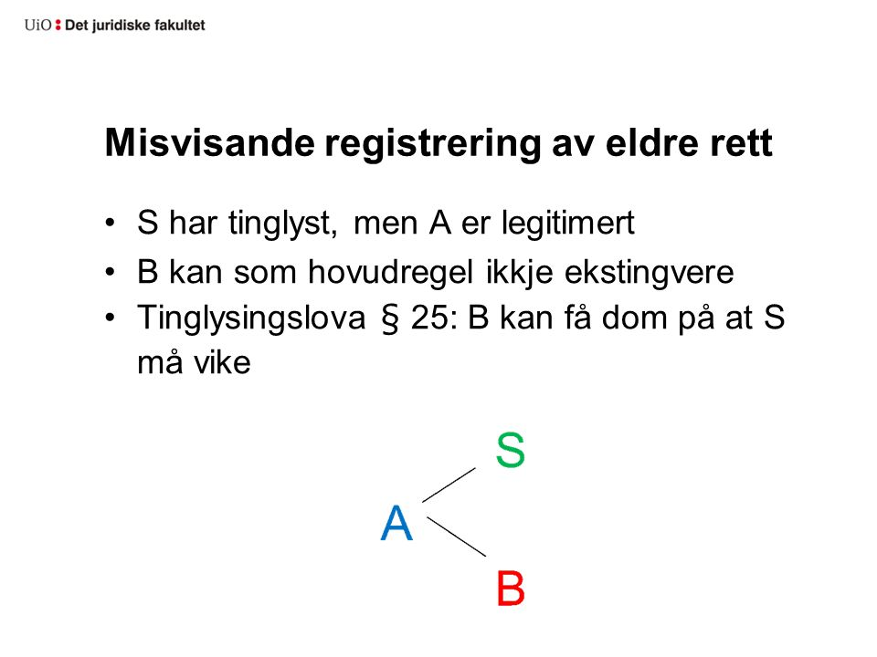 Misvisande registrering av eldre rett