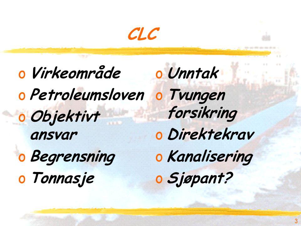 CLC Virkeområde Petroleumsloven Objektivt ansvar Begrensning Tonnasje