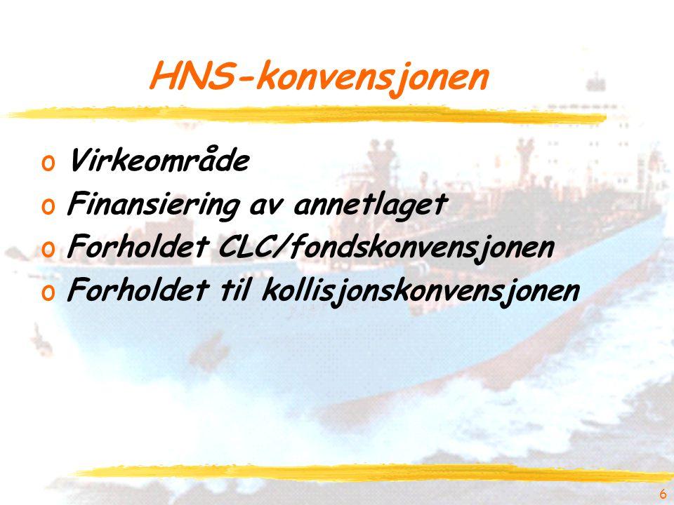 HNS-konvensjonen Virkeområde Finansiering av annetlaget