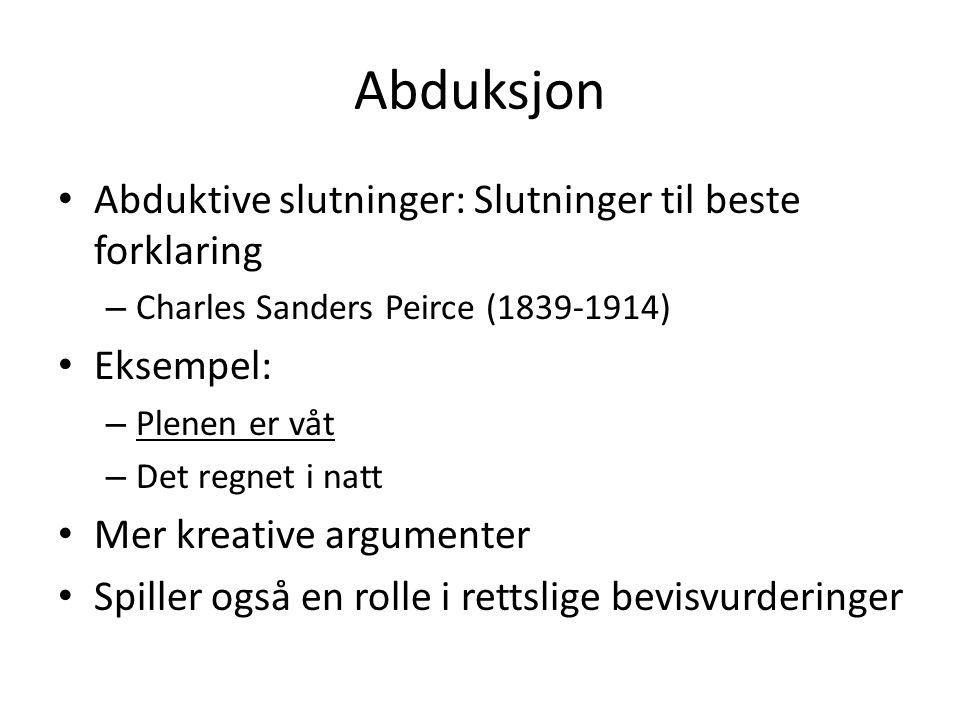 Abduksjon Abduktive slutninger: Slutninger til beste forklaring