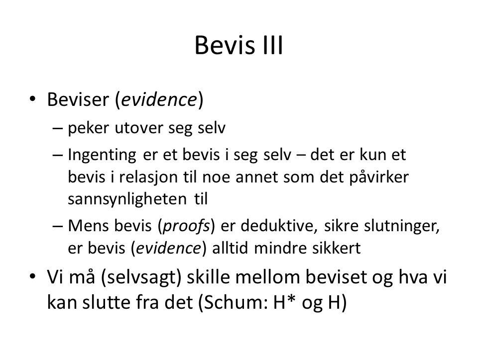 Bevis III Beviser (evidence)