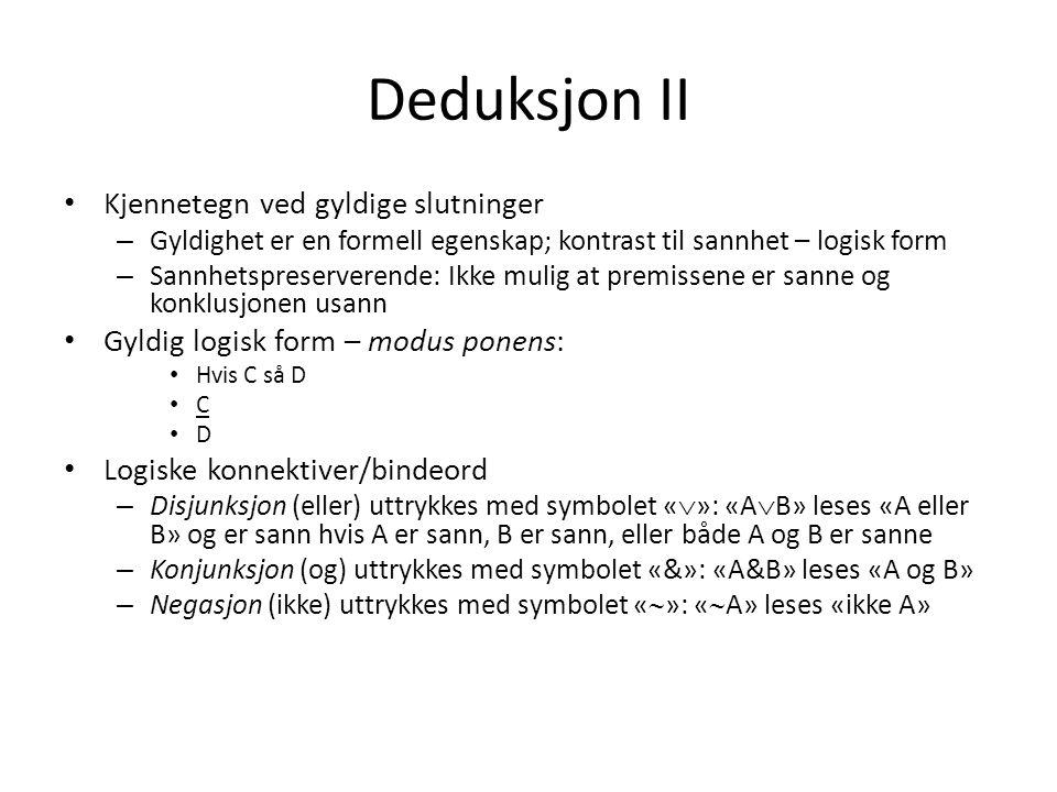 Deduksjon II Kjennetegn ved gyldige slutninger