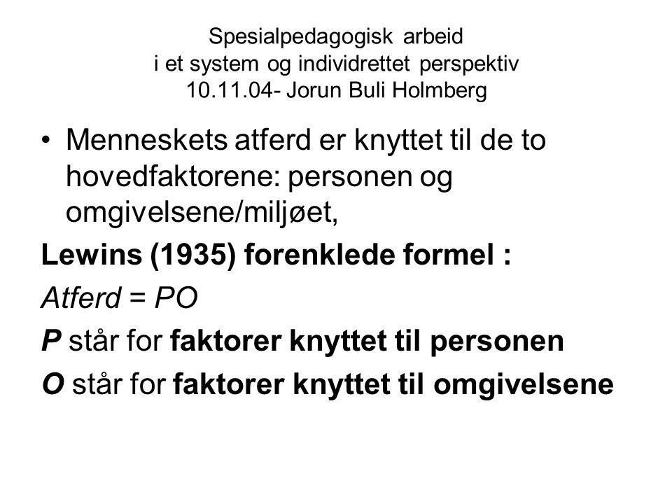 Lewins (1935) forenklede formel : Atferd = PO