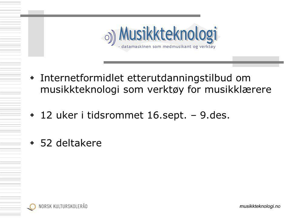 Internetformidlet etterutdanningstilbud om musikkteknologi som verktøy for musikklærere