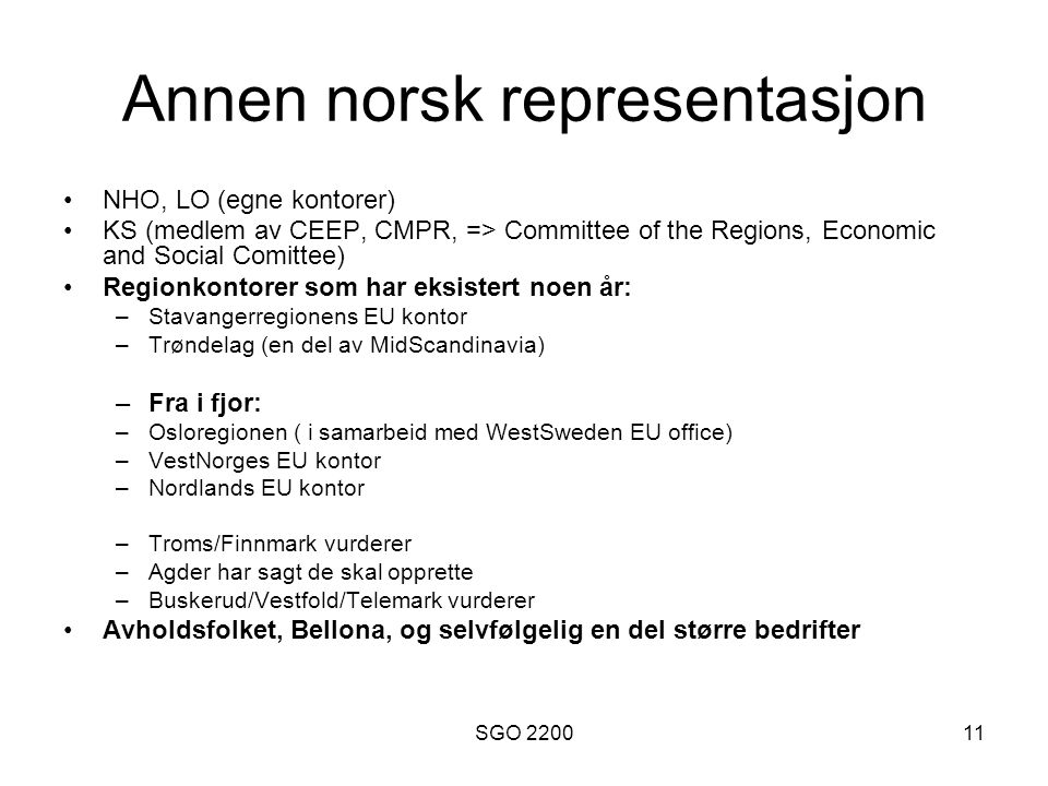 Annen norsk representasjon