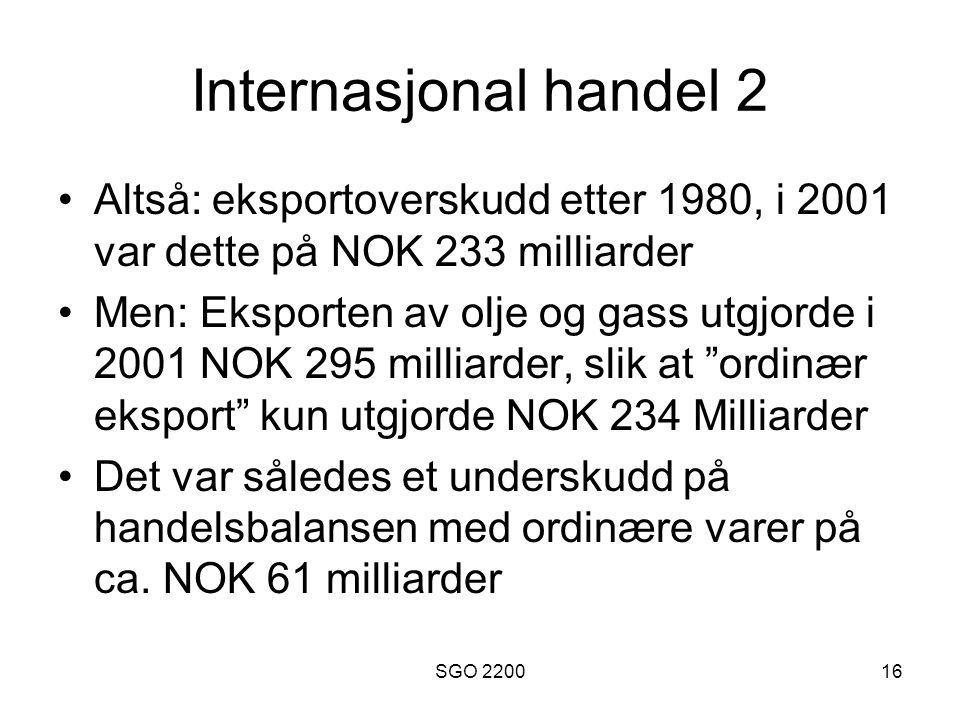 Internasjonal handel 2 Altså: eksportoverskudd etter 1980, i 2001 var dette på NOK 233 milliarder.