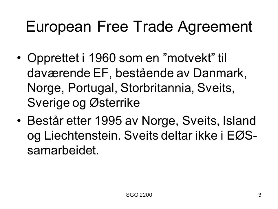 European Free Trade Agreement