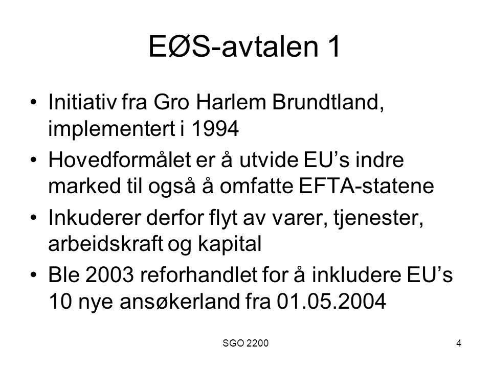 EØS-avtalen 1 Initiativ fra Gro Harlem Brundtland, implementert i 1994