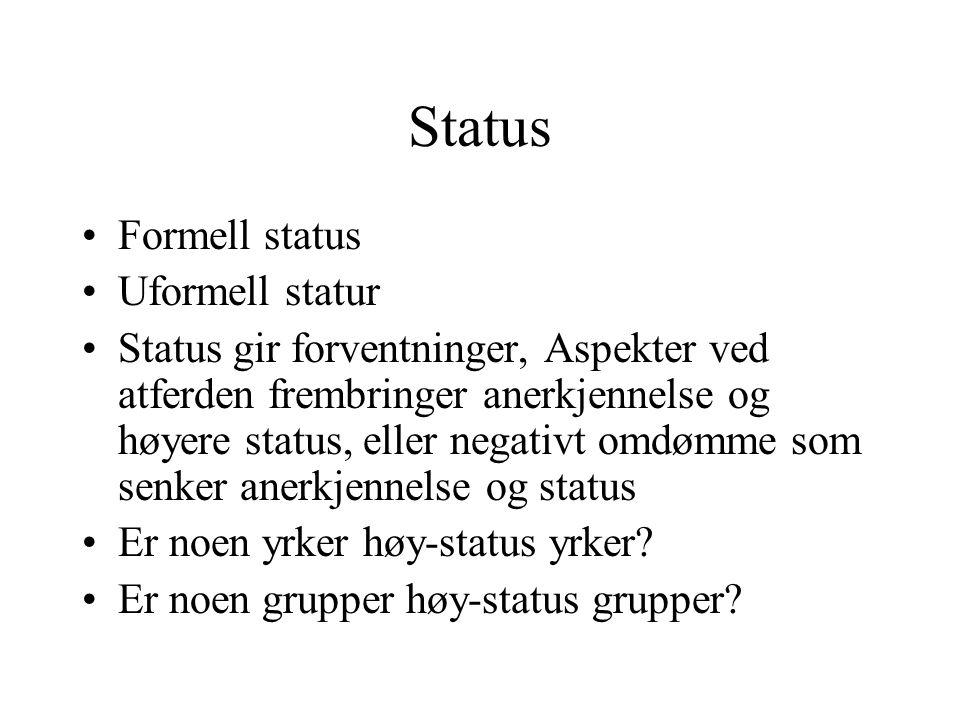 Status Formell status Uformell statur