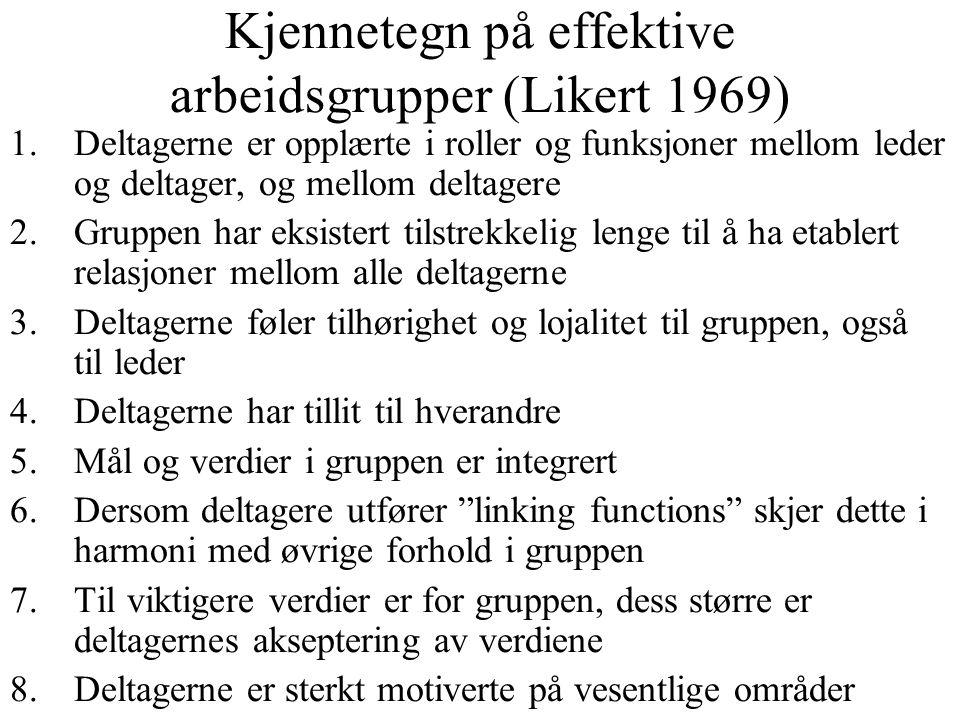 Kjennetegn på effektive arbeidsgrupper (Likert 1969)