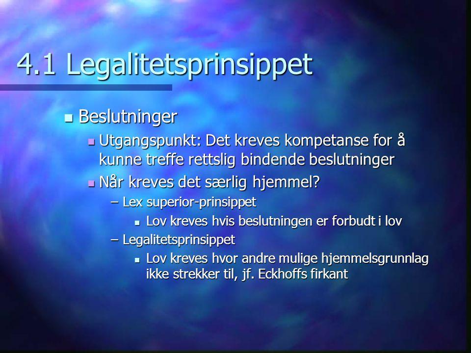 4.1 Legalitetsprinsippet