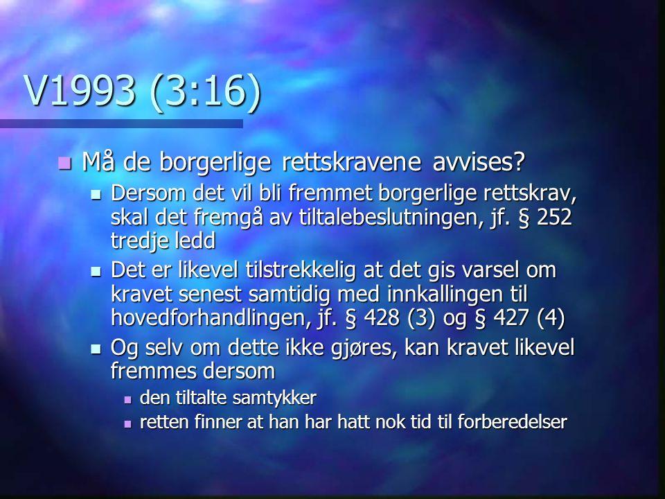 V1993 (3:16) Må de borgerlige rettskravene avvises