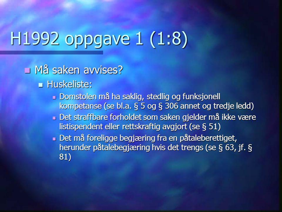 H1992 oppgave 1 (1:8) Må saken avvises Huskeliste: