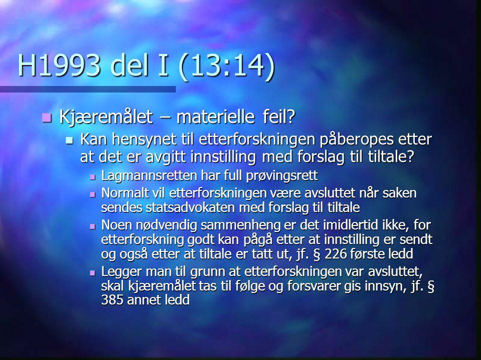 H1993 del I (13:14) Kjæremålet – materielle feil