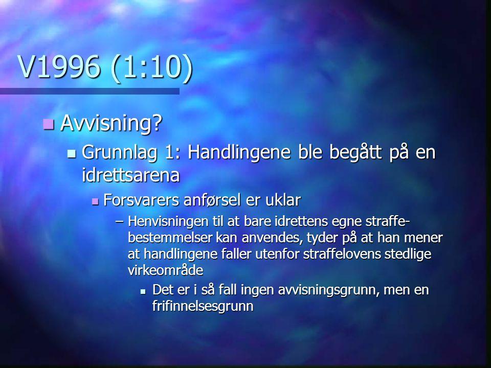 V1996 (1:10) Avvisning Grunnlag 1: Handlingene ble begått på en idrettsarena. Forsvarers anførsel er uklar.