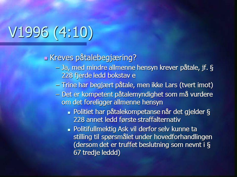 V1996 (4:10) Kreves påtalebegjæring