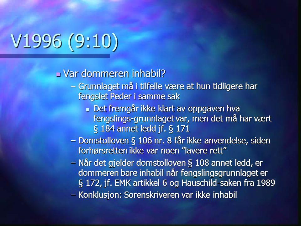 V1996 (9:10) Var dommeren inhabil