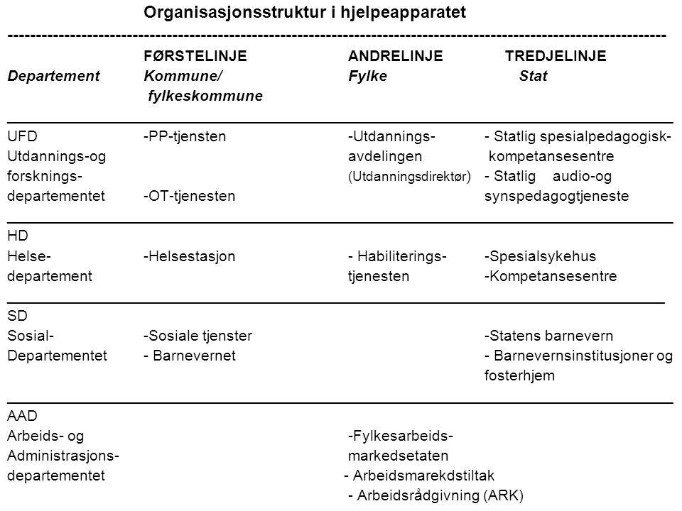 Organisasjonsstruktur i hjelpeapparatet