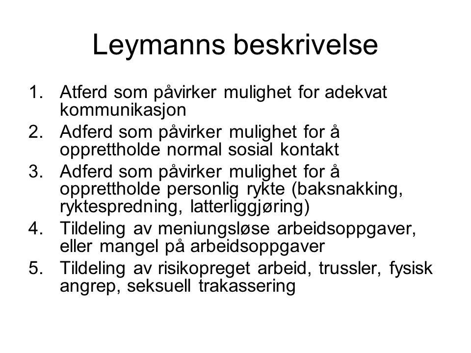 Leymanns beskrivelse Atferd som påvirker mulighet for adekvat kommunikasjon. Adferd som påvirker mulighet for å opprettholde normal sosial kontakt.