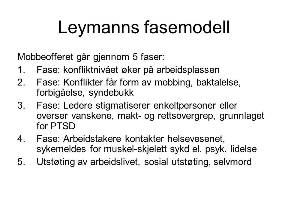 Leymanns fasemodell Mobbeofferet går gjennom 5 faser: