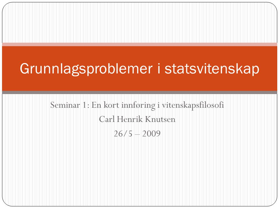 Grunnlagsproblemer i statsvitenskap