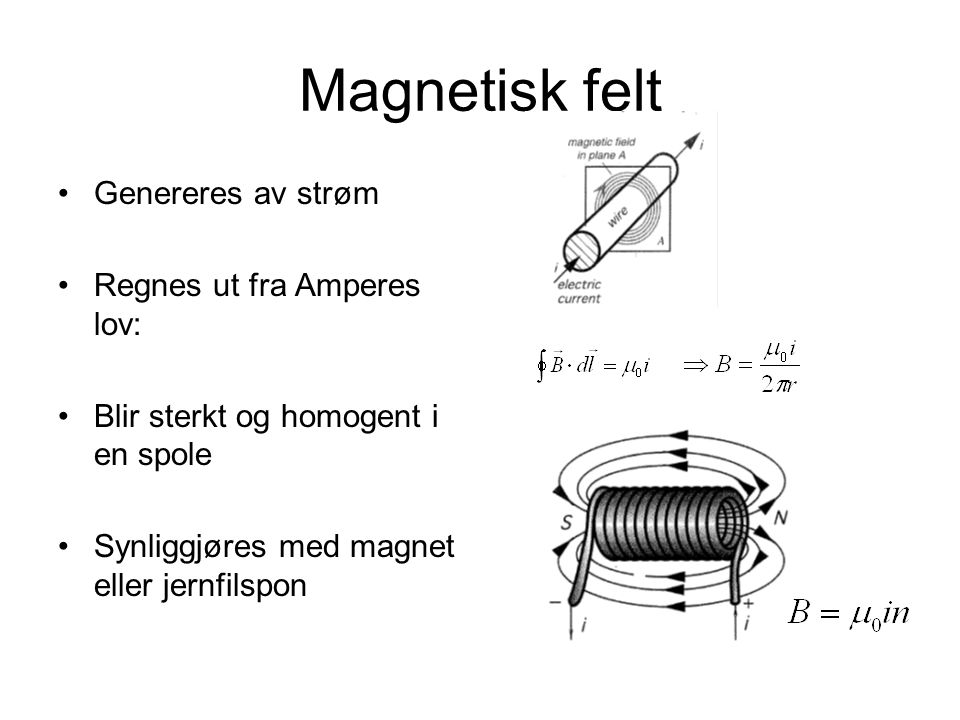 Magnetisk felt Genereres av strøm Regnes ut fra Amperes lov: