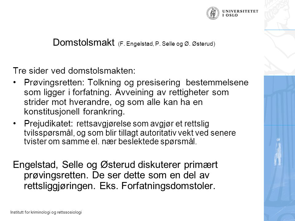 Domstolsmakt (F. Engelstad, P. Selle og Ø. Østerud)