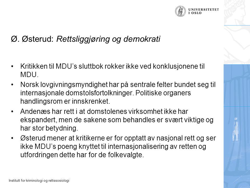 Ø. Østerud: Rettsliggjøring og demokrati