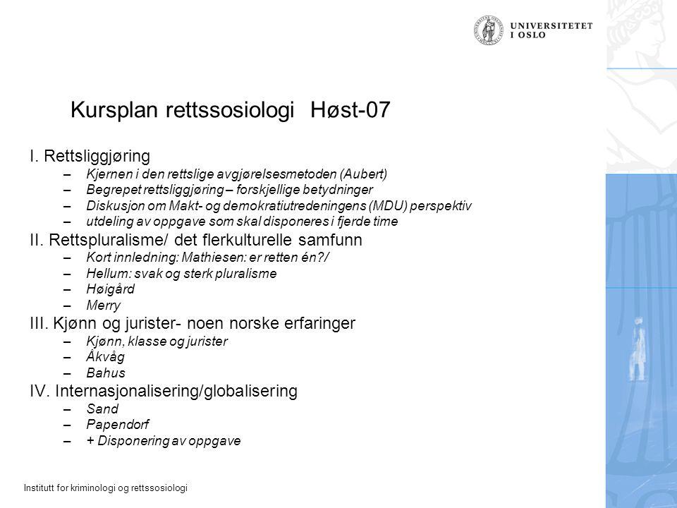 Kursplan rettssosiologi Høst-07