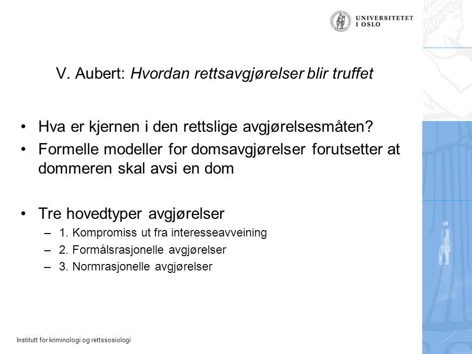 V. Aubert: Hvordan rettsavgjørelser blir truffet