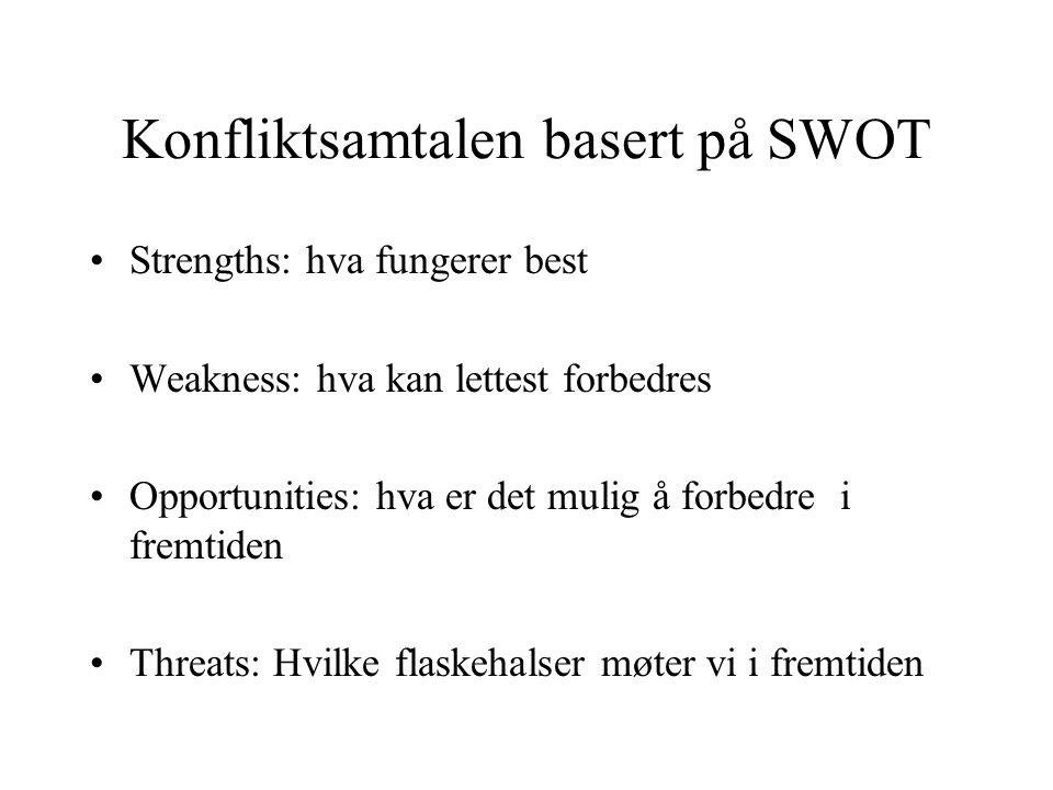 Konfliktsamtalen basert på SWOT