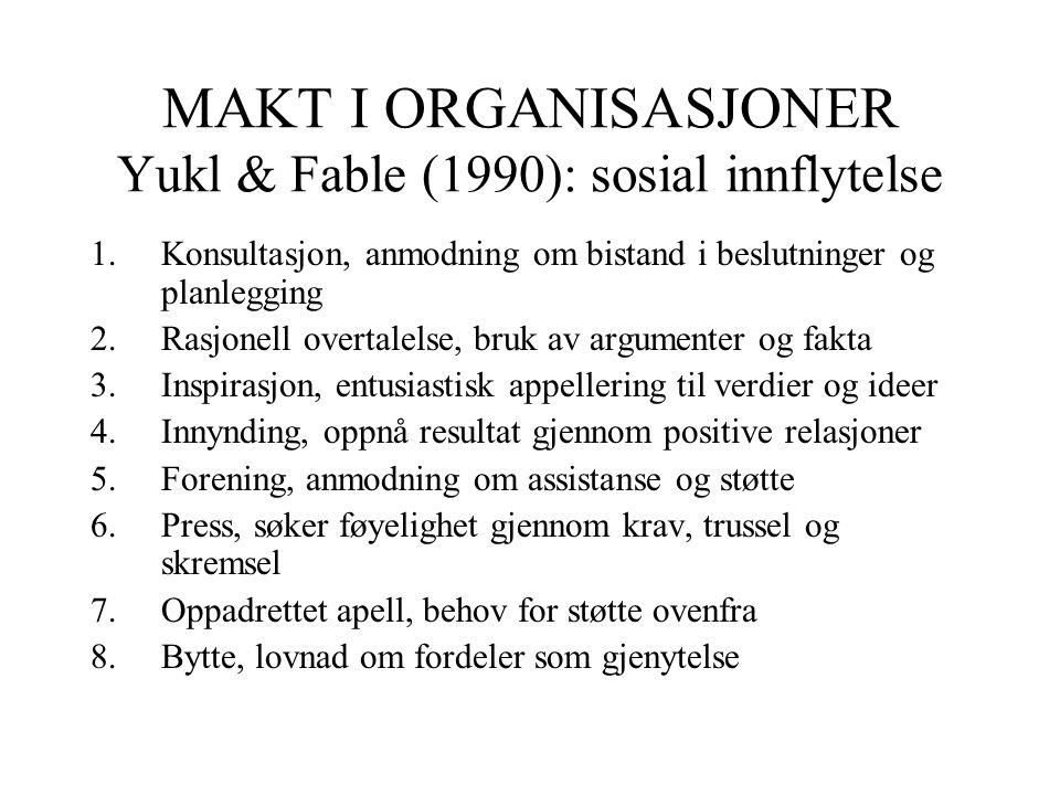 MAKT I ORGANISASJONER Yukl & Fable (1990): sosial innflytelse
