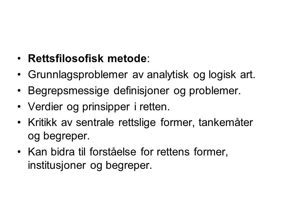 Rettsfilosofisk metode:
