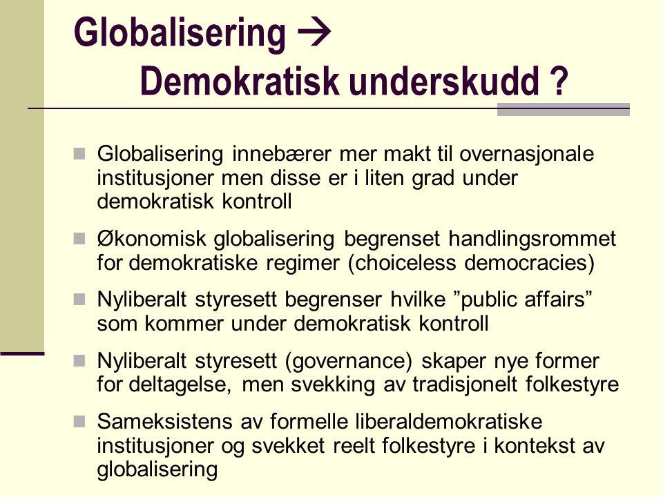 Globalisering  Demokratisk underskudd