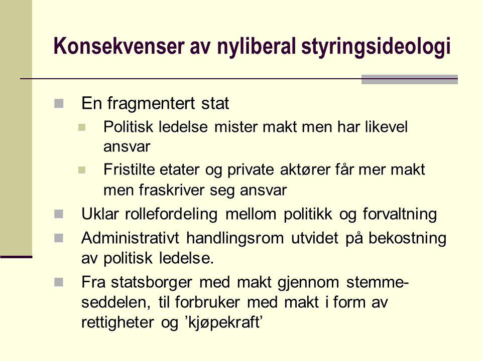 Konsekvenser av nyliberal styringsideologi
