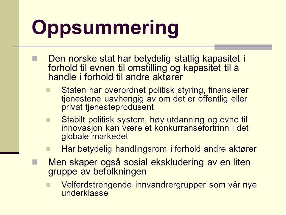 Oppsummering Den norske stat har betydelig statlig kapasitet i forhold til evnen til omstilling og kapasitet til å handle i forhold til andre aktører.