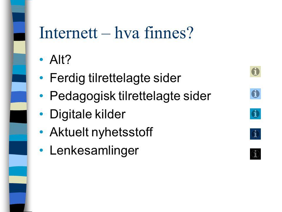 Internett – hva finnes Alt Ferdig tilrettelagte sider