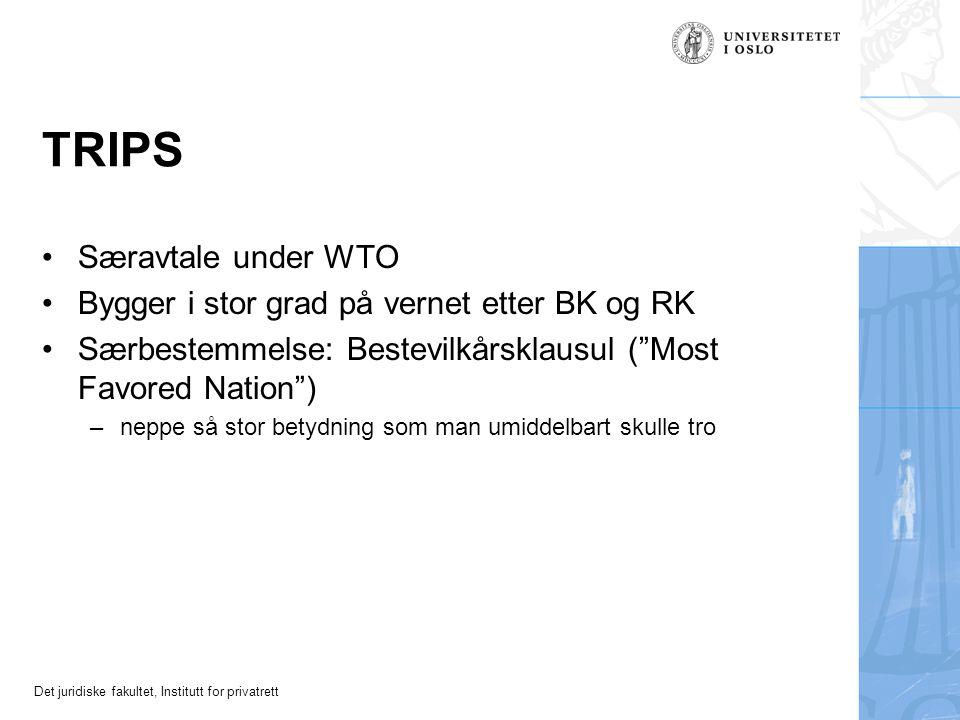 TRIPS Særavtale under WTO Bygger i stor grad på vernet etter BK og RK