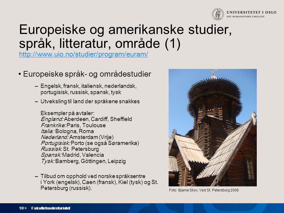 Europeiske og amerikanske studier, språk, litteratur, område (1)