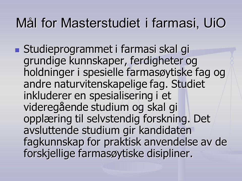 Mål for Masterstudiet i farmasi, UiO