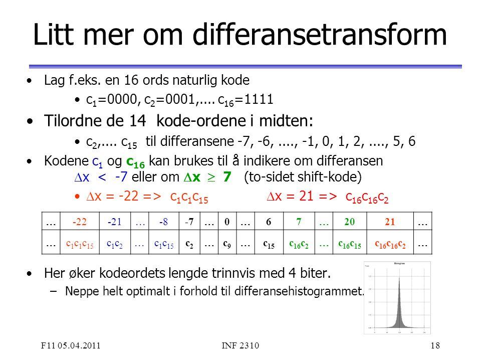 Litt mer om differansetransform
