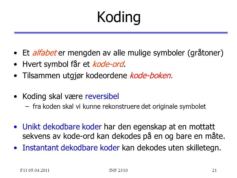 Koding Et alfabet er mengden av alle mulige symboler (gråtoner)